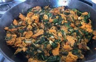 Snazzy-pizzazzy ~ Spinach and Sweet Potato Hash!